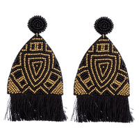 Statement Beaded Fringe Earrings