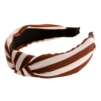 brown and cream striped knot headband