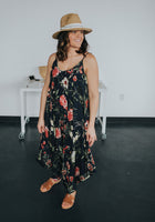 womens boho floral jumpsuit in navy with spaghetti straps