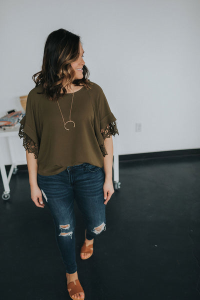 Layered Crochet Sleeve Top - Large Only