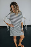 women's eyelet ruffle sleeve dress dress in blue and white stripe with an above the knee length