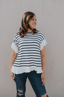 Ruffle Back Striped Tee - Large Only