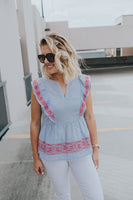 Embroidered Flutter Top - Large Only