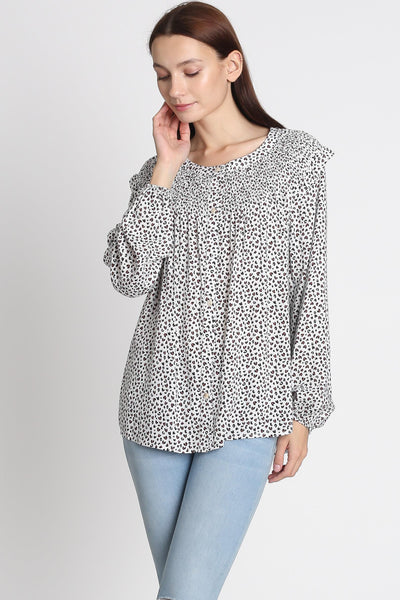 Mini Leopard Smocked Blouse