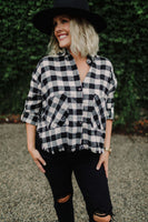 women's black and white buffalo check raw edge cropped flannel