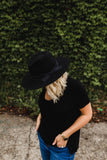 women's black wool felt Panama hat with distressed ribbon