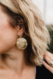 hammered disc pendant earrings in gold
