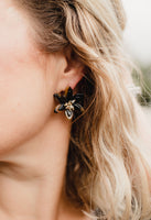 women's tortoise flower stud earrings