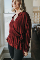women's burgundy wrap holiday blouse with tie
