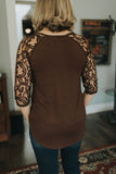 Luxe Lace Sleeve Top - Americano