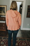 women's dusty rose long sleeve peplum hoodie