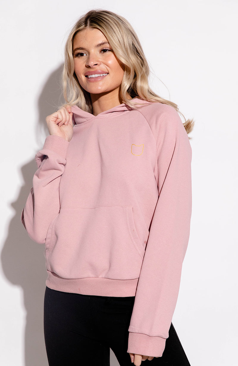 KITTENISH LOGO HOODIE IN DUSTY PINK