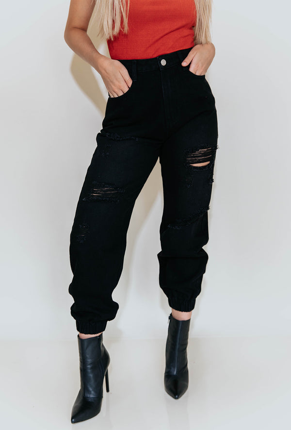 ANSLEY DISTRESSED BLACK DENIM JOGGERS