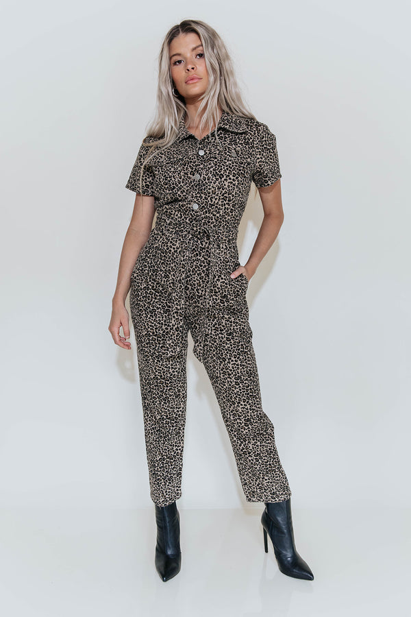 COOL CAT LEOPARD UTILITY JUMPSUIT