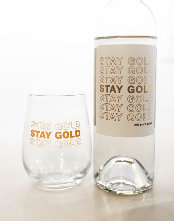 STAY GOLD WINE GLASS