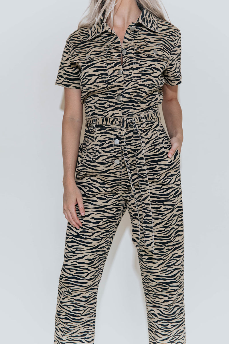 TIGER QUEEN PRINT UTILITY JUMPSUIT