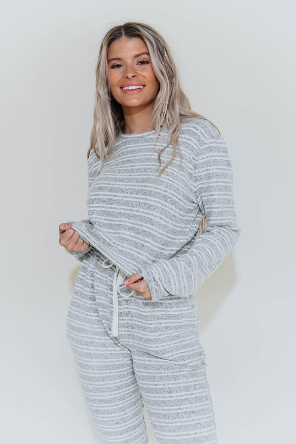 KAIA GREY STRIPE COZY TOP