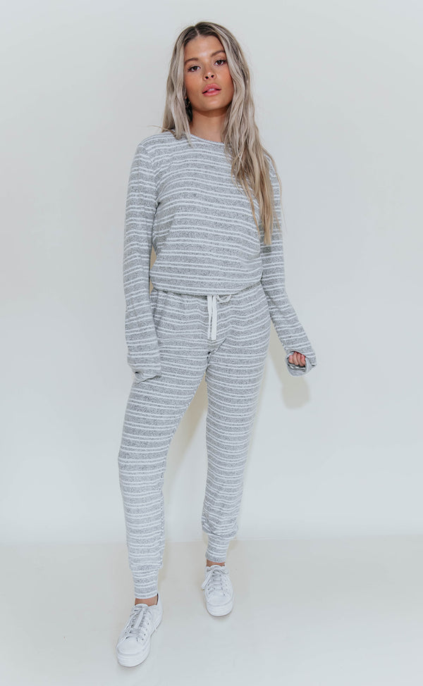 KAIA GREY STRIPE COZY JOGGERS