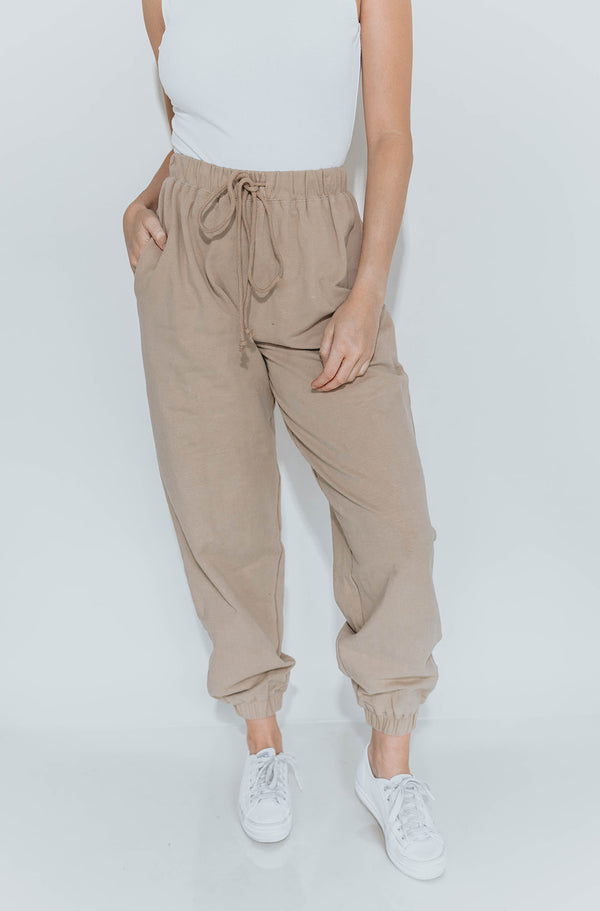 LAZY BABE TAN JOGGERS