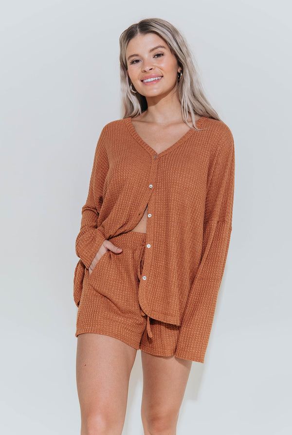 CARSEN CAMEL LOUNGE TOP