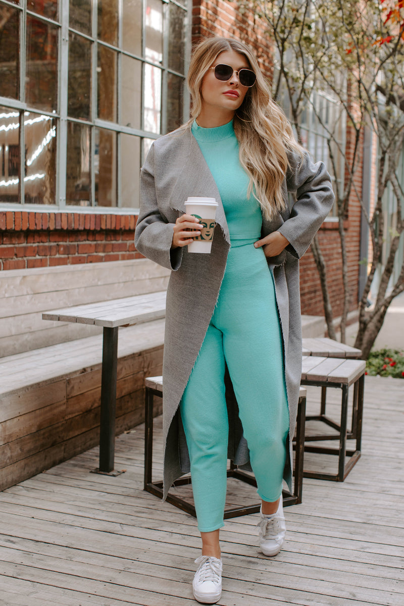 MIAMI TIFFANY BLUE KNIT SLEEVELESS CROPPED TURTLENECK SET