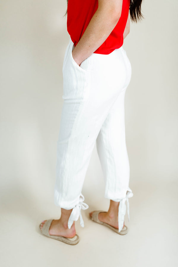 REBECCA ANKLE-TIE PANTS IN WHITE