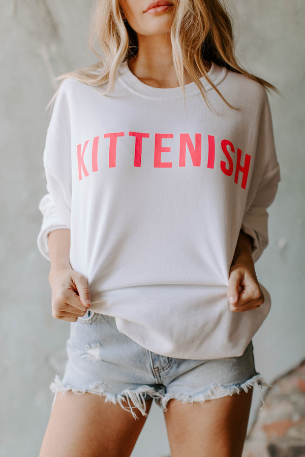 KITTENISH SWEATSHIRT IN WHITE