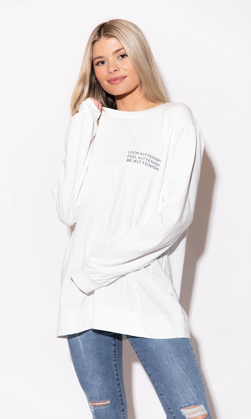 BE KITTENISH LONG SLEEVE LOGO TEE