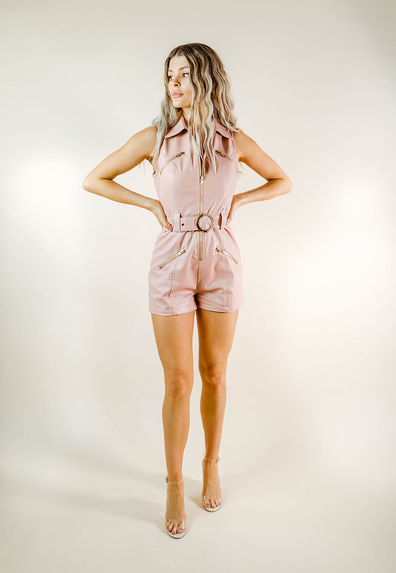 ROSIE FAUX LEATHER BLUSH ROMPER