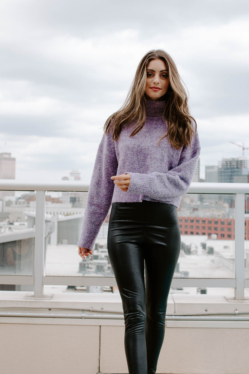 JERSEY GIRL LAVENDER TURTLENECK SWEATER