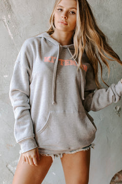 KITTENISH VARSITY LETTER HOODIE IN GRAY