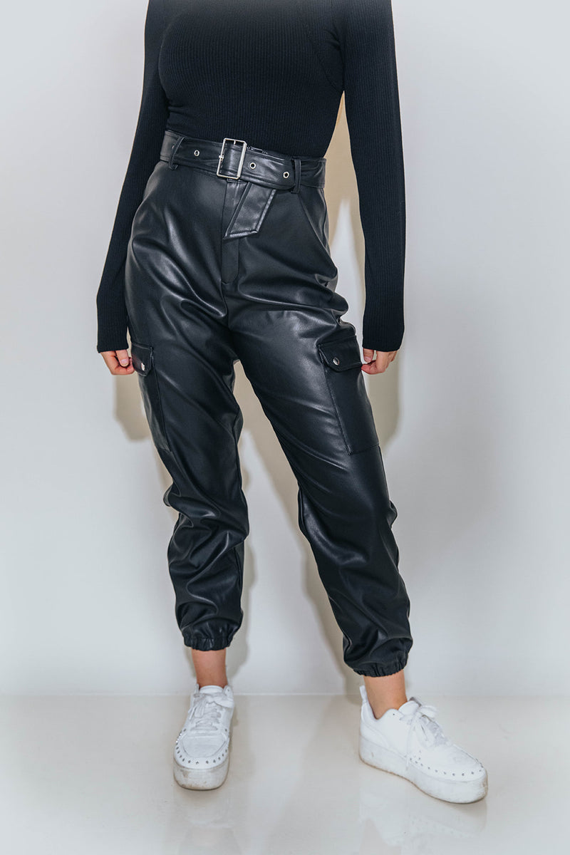 HEATHER FAUX LEATHER JOGGER