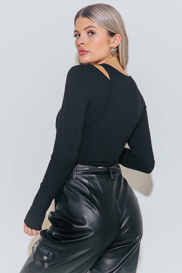 MARA BLACK CUTOUT BODYSUIT