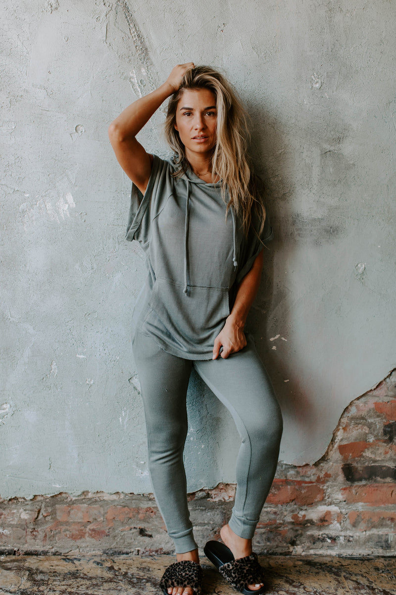 STEPHANIE GREEN WOVEN LOUNGE JOGGER