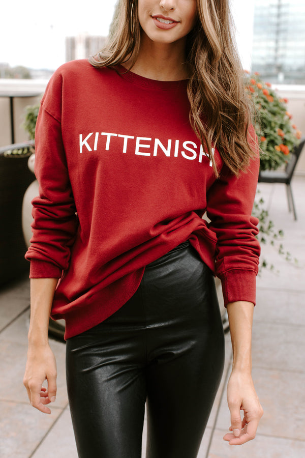 KITTENISH LOGO SWEATSHIRT IN BURGUNDY