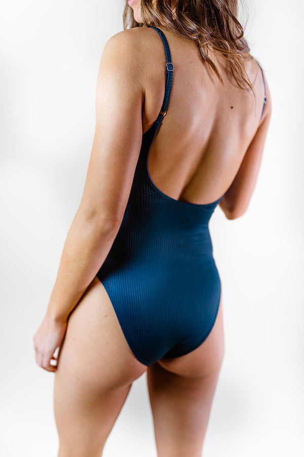 CARIBBEAN RIBBED ONE PIECE SWIMSUIT
