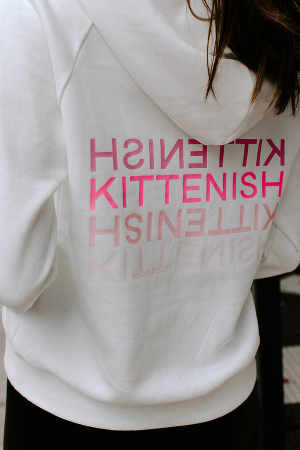 KITTENISH LOGO HOODIE IN WHITE