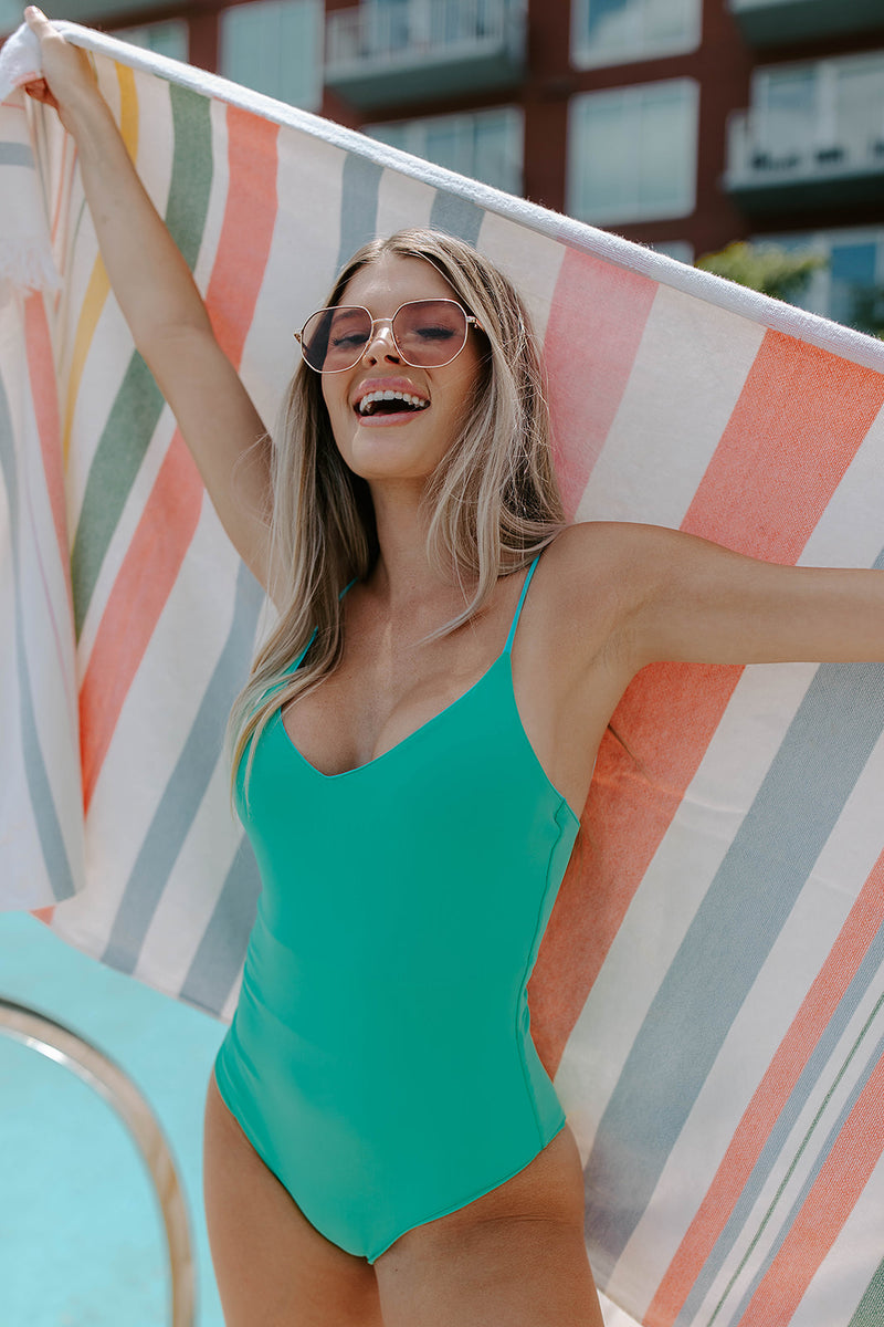 AQUAMARINE REVERSIBLE ONE PIECE SWIMSUIT