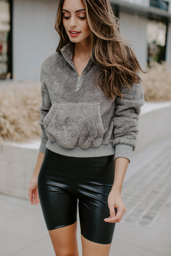 GRAY CROPPED SHERPA PULLOVER W/ HALF ZIP
