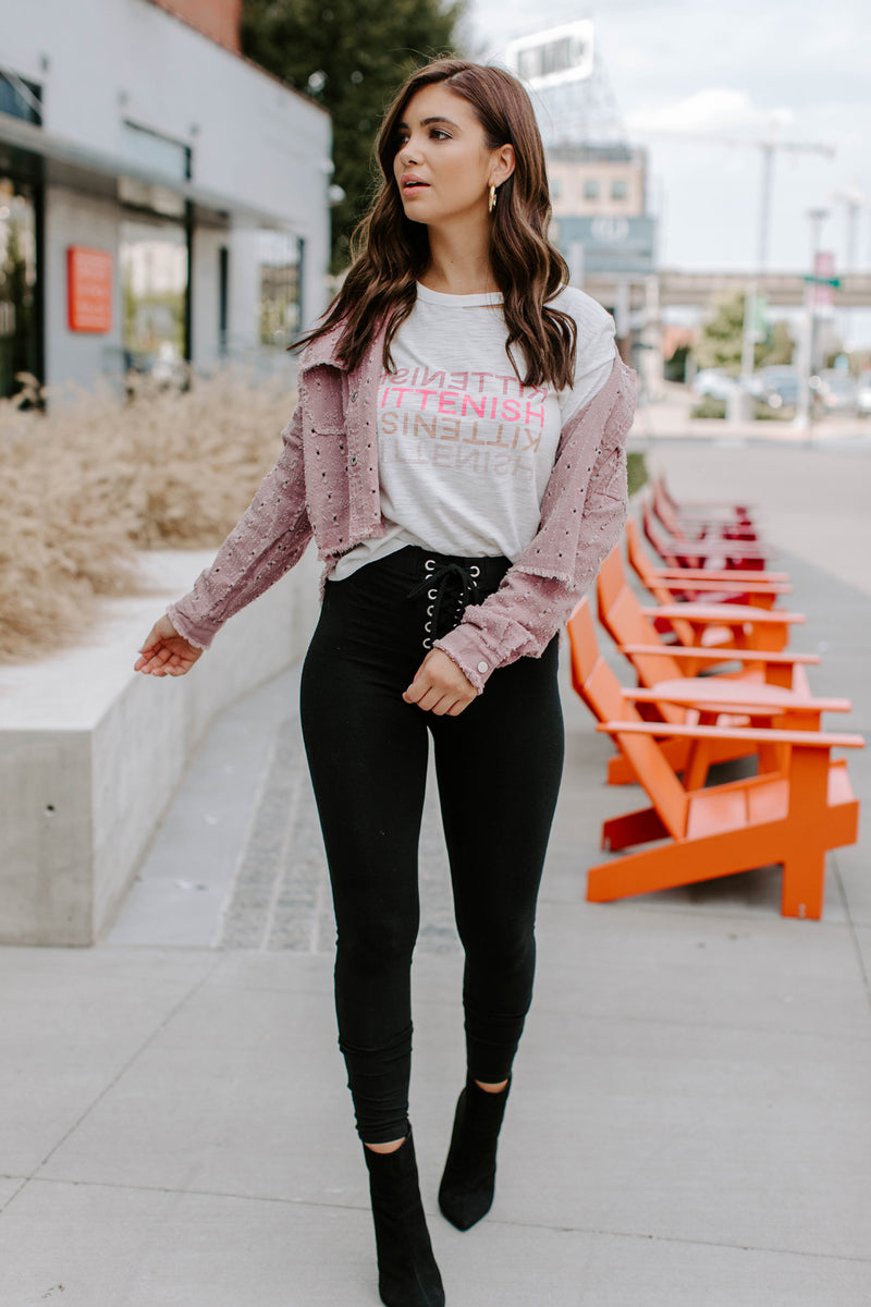 KITTENISH LOGO LONG SLEEVE IN WHITE