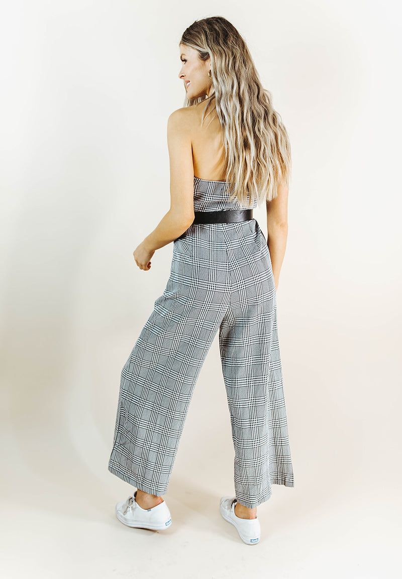 SYDNEY BLACK AND WHITE PLAID STRAPLESS JUMPSUIT