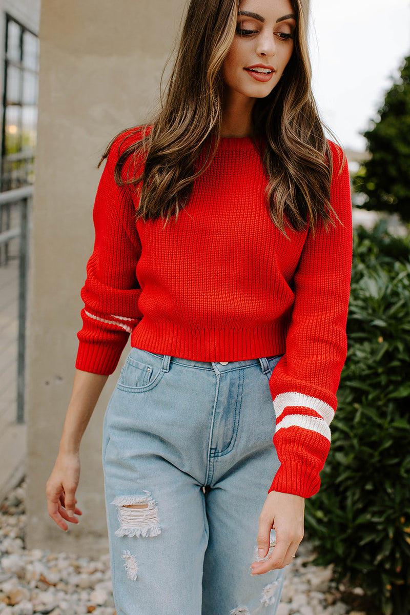 VARSITY BABE RED SWEATER