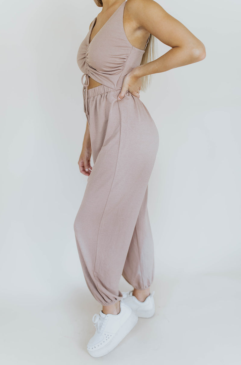 ESSENTIAL TAUPE JUMPSUIT