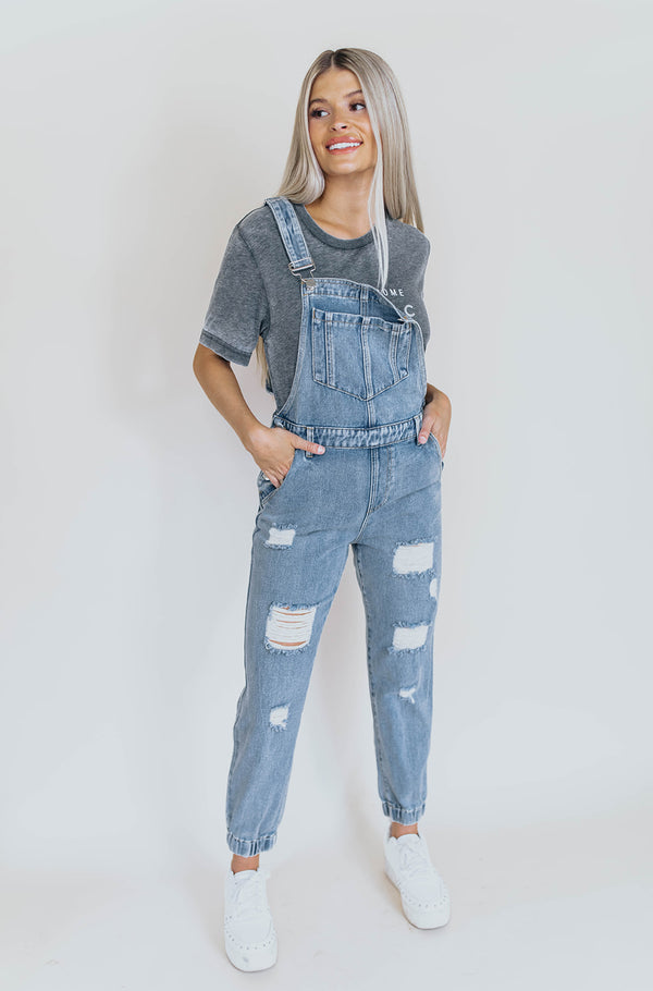 FORREST DISTRESSED DENIM JOGGER OVERALLS