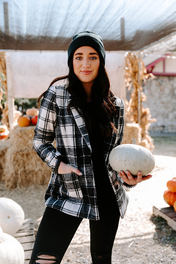 MIRANDA BLACK AND WHITE PLAID COAT
