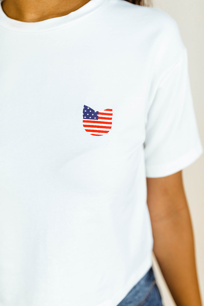 PATRIOTIC KITTEN TEE IN WHITE
