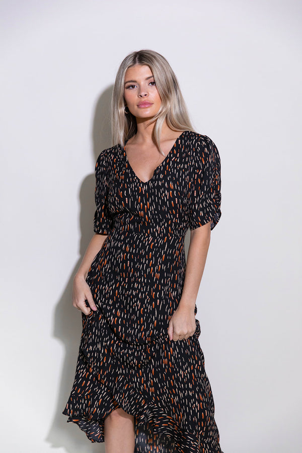MACY BLACK PRINTED MAXI DRESS