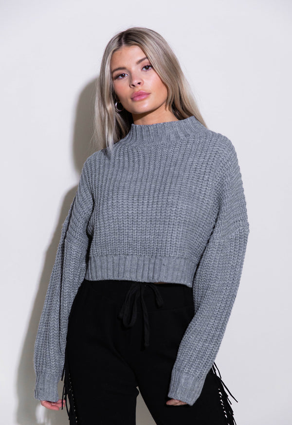 COZY UP CROPPED GREY SWEATER