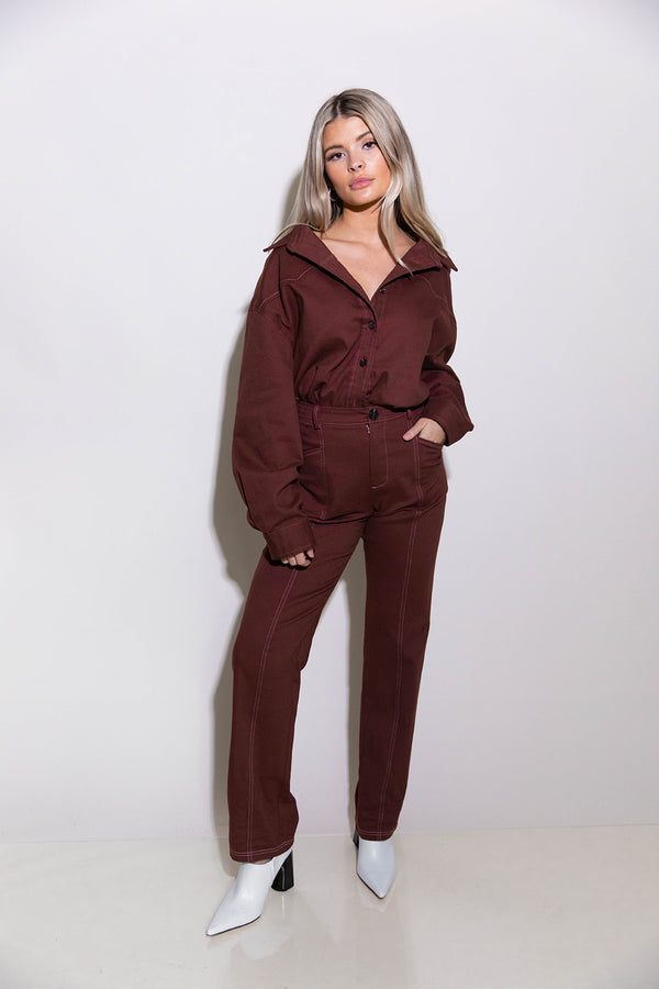 BRITTANY BURGUNDY PANTS