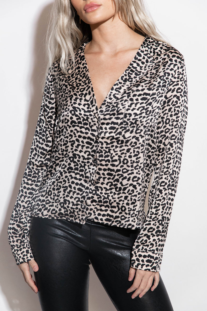 MRS DECKER LEOPARD BUTTON UP COLLARED SHIRT